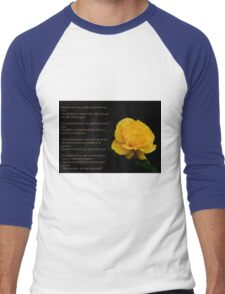 Yellow Rose With Verse - Pluck Not the Rose  Men's Baseball ¾ T-Shirt