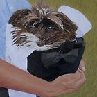 """I Got Carried Away"" Puppy Dog Painting by Patricia Barmatz"
