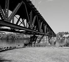HIGH RAILROAD BRIDGE IN BW by jclegge