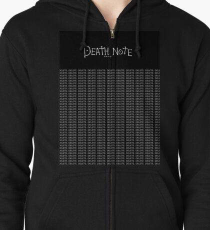 DeathNote Kira DELETE.  Zipped Hoodie