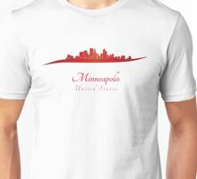 Minneapolis skyline in red Unisex T-Shirt