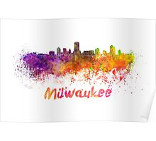 Milwaukee skyline in watercolor Poster