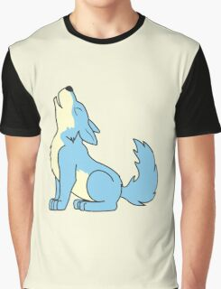 Light Blue Howling Wolf Pup Graphic T-Shirt