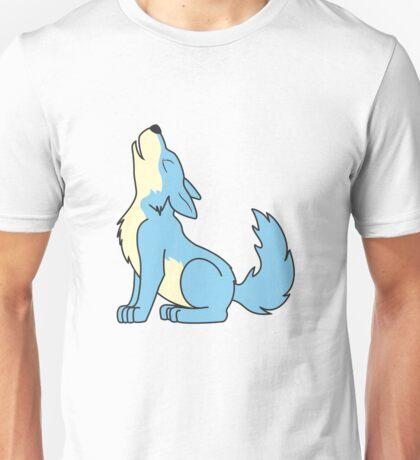 Light Blue Howling Wolf Pup Unisex T-Shirt