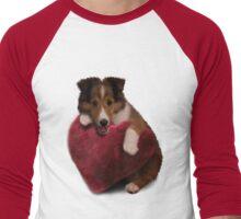 Sheltie Puppy with Heart Men's Baseball ¾ T-Shirt