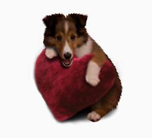 Sheltie Puppy with Heart Men's Baseball ¾ T-Shirt