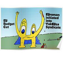 Comic Euroman cut by the EU Poster