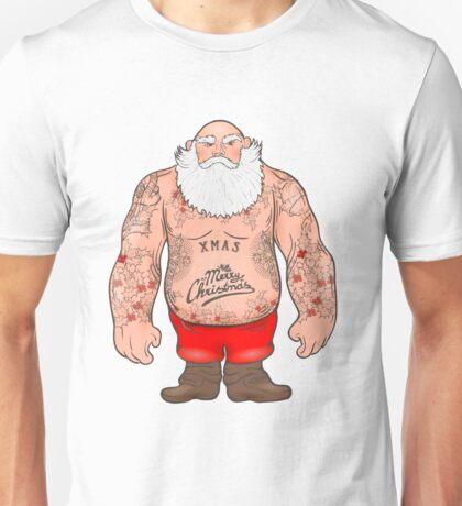 Brutal Santa Claus Bodybuilder, tattoos Unisex T-Shirt