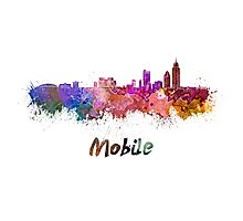 Mobile skyline in watercolor Photographic Print