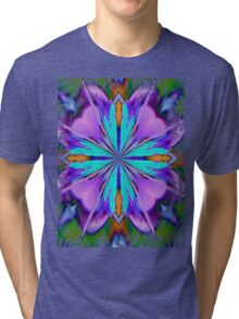 Colorful Purple And Turquoise Kaleidoscope Design Tri-blend T-Shirt