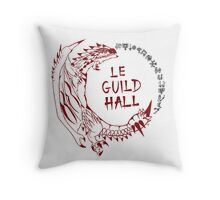 Monster Hunter Le Guild Hall-Rathalos Version 1 Uncolored Throw Pillow