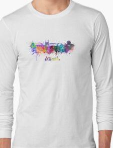 Minsk skyline in watercolor Long Sleeve T-Shirt