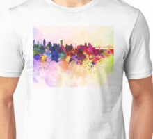 Montreal skyline in watercolor background Unisex T-Shirt