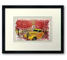 CLASSIC YELLOW HOT ROD IN RED MAPLE LANE Framed Print