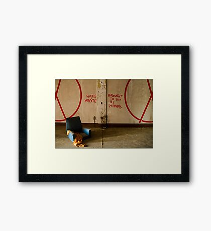 Hate Waste. Brought To You By Humans. Framed Print