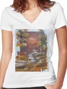 Walking At Autumn Women's Fitted V-Neck T-Shirt