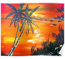Coconut Palms  Sunset Poster
