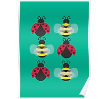 Ladybugs and bees Poster