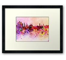 Moscow skyline in watercolor background Framed Print