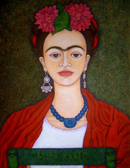 Frida portrait with dalias by Madalena Lobao-Tello