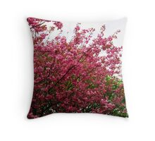 Deep Pink Tree Blossoms Throw Pillow