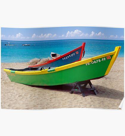 CaribbeaN Fishing Boats Poster