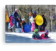 Winter - Sledding in the Park Canvas Print