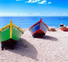 Frontal View of Caribbean Fishing Boats  by George Oze