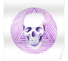 skull watercolor circle Poster