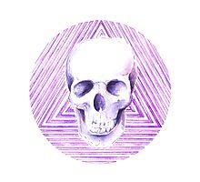 skull watercolor circle Photographic Print