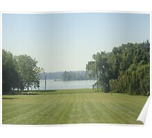 big lawn with nice water Poster