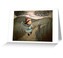 A Windy Walk Greeting Card