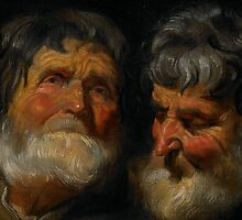 Two studies of the head of an old man, c.1630 by Bridgeman Art Library