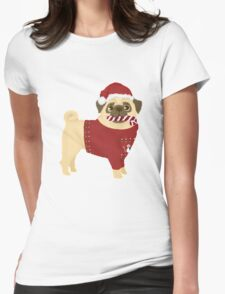 Xmas Pug Womens Fitted T-Shirt