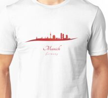 Munich skyline in red Unisex T-Shirt
