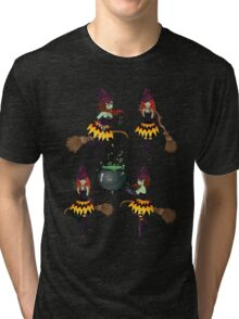 Dark Witch with Broom 3 Tri-blend T-Shirt