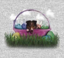Easter Sheltie Puppy Kids Tee