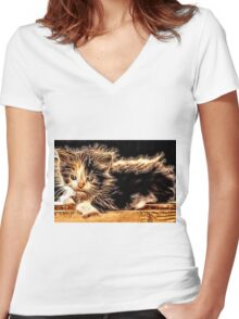 Wild nature - pussy #13 Women's Fitted V-Neck T-Shirt