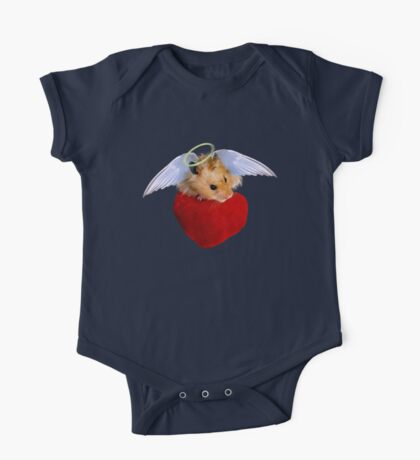Angel Hamster with Heart One Piece - Short Sleeve