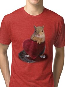 Squirrel with Heart Tri-blend T-Shirt
