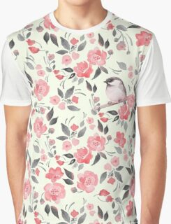 Watercolor floral background with a cute bird 2 Graphic T-Shirt