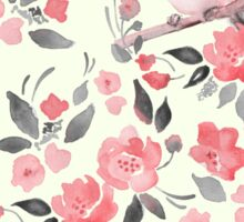 Watercolor floral background with a cute bird 2 Sticker