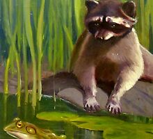Raccoon and Frog 119 by Max DeBeeson