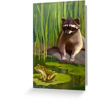 Raccoon and Frog 119 Greeting Card