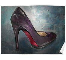 Purple Red Bottom High Heel Poster