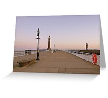 Sunrise over twin lighthouses Whitby. Greeting Card