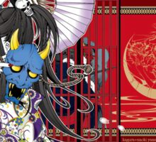 Japanese Kimono Oni Girl Japan Sticker