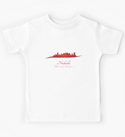 Nashville skyline in red Kids Tee