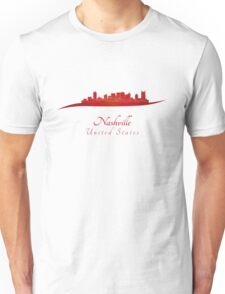 Nashville skyline in red Unisex T-Shirt