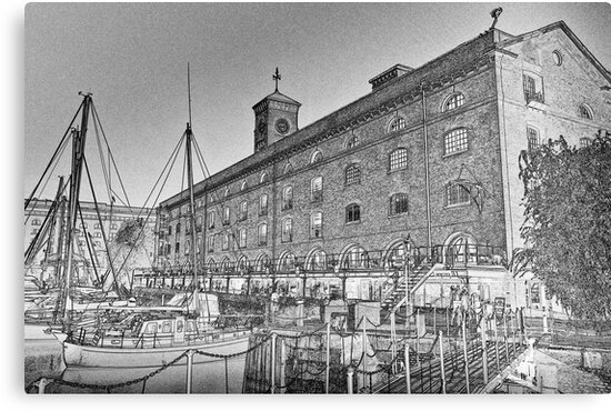 St Katherine's Dock London sketch by DavidHornchurch